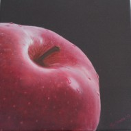"""The Red Apple"" Realistic oil painting D: 40x40 cm"