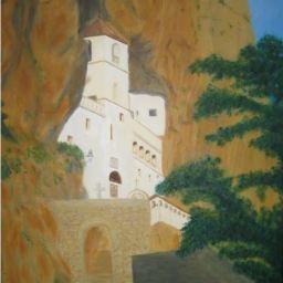 """Monastery Ostrog"" Oil painting D: 45x55 cm"