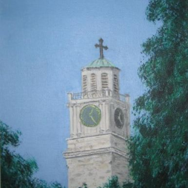 """The Clock Tower, Bitola"" - Acrylic painting of The Clock Tower located in the center of the Macedonian city Bitola. (SOLD)"